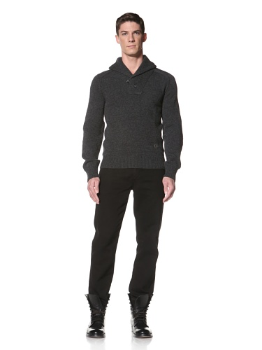 LOVE Moschino Men's Shawl Collar Sweater (Grey/Red/Black)