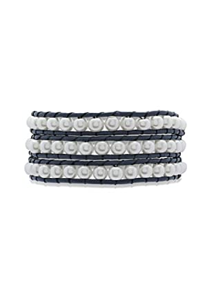 Lucie & Jade Echtleder-Armband Imitationsperlen blau/weiß
