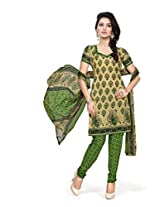 BanoRani Womens Beige & Green Color Casual & Printed PolyCotton Ladies Unstitched Salwar Suit Dress Material with Printed Dupatta
