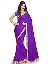 MemSahiba Women Plain Border Satin Chiffon Saree (MS-1261_Purple)
