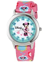Disney Kids W000041 Minnie Mouse Time Teacher Stainless Steel Watch with Printed Band