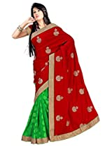 Chinco Embroidered Saree With Blouse Piece (1103-A_Red & Green)