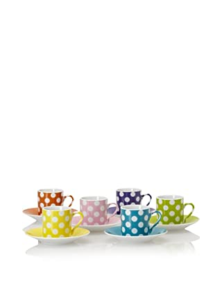 Classic Coffee & Tea White Dots Espresso Cups & Saucers, Set of 6 (Assorted)