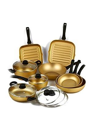 Stonegold Topf- und Pfannen-Set, 9 tlg. gold/schwarz