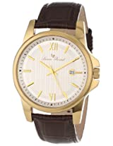 Lucien Piccard Men's 10048-YG-02S-BRW Breithorn Silver Textured Dial Brown Leather Watch