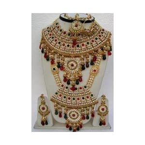 Green, Maroon and Off White Stone Studded Bridal Necklace Set