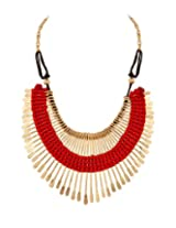 Voylla Bib Featuring Golden Spikes Woven Together By Red Thread Necklace for Women