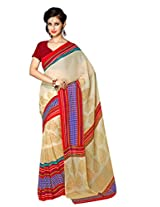 Vibes Women's Colombo Chiffon Saree with Blouse ( S37-1015A_Multi-Coloured)