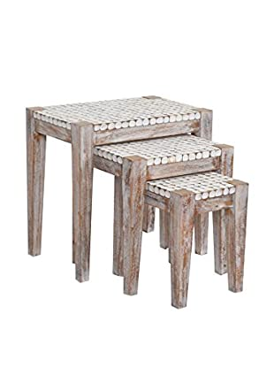Jeffan New Hampton Set of 3 Nesting Side Tables With Cocomosaic Accent, Natural