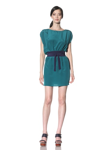 Akiko Women's Cap Sleeve Silk Dress with Contrast Belt (Emerald/Navy)