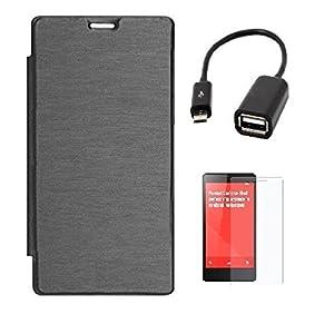 ECellStreet Xiaomi Redmi Note Flip Case Cover Diary Folio Case - Black + OTG connector + Screen Protector