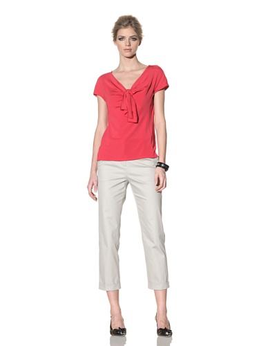 Rachel Roy Women's Matte Jersey Tie-Front Top (Coral)