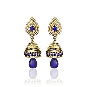 Zaveri Pearls Blue Non-Precious Metal Jhumki Earing For Women