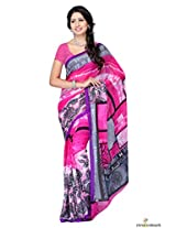 Faux Georgette Printed Saree In Pink Colour