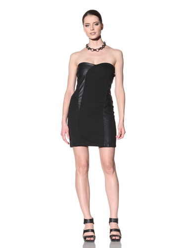 FACTORY by Erik Hart Women's Faux Leather Ponte Strapless Dress (Onyx)