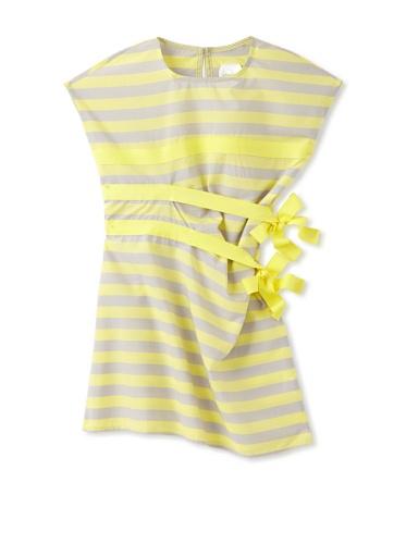 kicokids Girl's Horizontal Tuck Pleat Dress (Citrus)