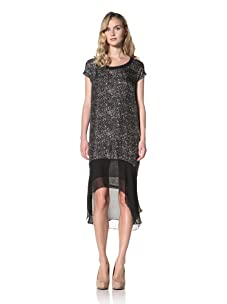 Jonathan Simkhai Women's Printed T-Shirt Dress With Chiffon (Black)