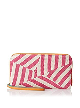 POVERTY FLATS by rian Women's Stripey Wristlet Zip Around Wallet, Pink/Orange