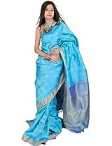 Blue Kanjivarm Sari with Royal Blue border and Hand-woven Leaves - Pure Silk