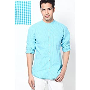 Aqua Blue Mandarin Collar Check Casual Shirt