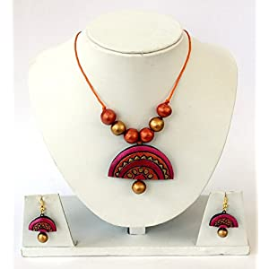 Anikalan Designs Multicolour Pink Surya Pendant Terracotta Necklace Set