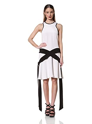 Prabal Gurung Women's Sleeveless Drop Waist Dress with Side Ties (White//Black)