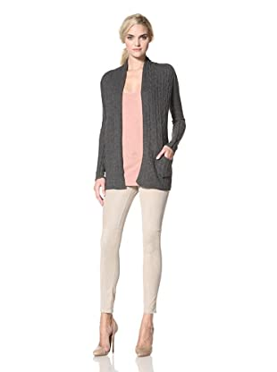 KOKUN Women's Cable Cardigan (Charcoal Grey)