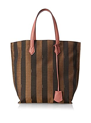 FENDI Women's Jacquard Zucca Large Tote, Brown/Coral