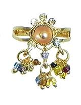 DollsofIndia Peach Stone Studdd Adjustable Ring with Beaded Jhalar - Stone and Metal - Saffron