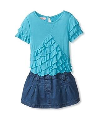 Beetlejuice Girl's Multi Layered Dress with Denim Hem