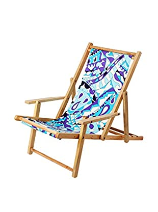 Julie Brown Reversible Beach Chair, Purple Gidget/Navy Polka Dot