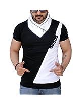 Black Collection Men's V-Neck Cotton T-Shirt (BCSA0016_Black_Large)
