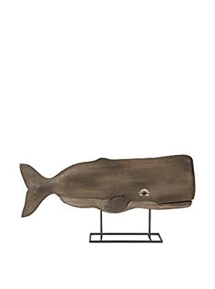 Achilles Carved Wood Whale Statuary (Natural)