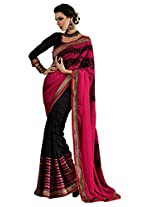 Faux Georgette Black & Pink Colour Saree for Party Wear