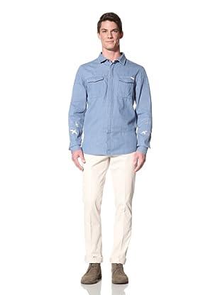 Zanerobe Men's Warfare Long Sleeve Woven Shirt (Indigo)