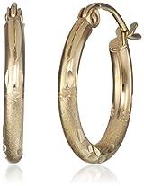 10k Yellow Gold 2mm Diamond-Cut Hoop Earrings