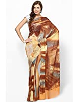 Georgette Orange Printed Saree