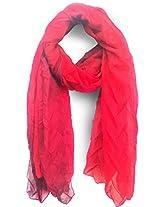 ScarfKing Self design polyester women scarf-Red