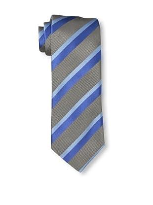 Rossovivo Men's Striped Tie, Taupe/Blue