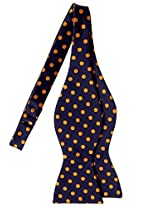 Retreez Classic Polka Dots Woven Microfiber Self Tie Bow Tie - Navy Blue with Gold Dots