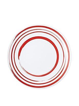 Q Squared NYC Madison Bloom Lite Melamine Dinner Plate, Red