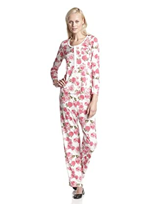 BH PJ's by BedHead Pajamas Women's Placket Pajama Set (Vintage Bouquet Ivory)