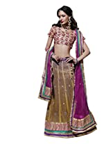Anvi Creations Embroidered Net Lehenga Choli (Yellowish beige purple_Free Size)