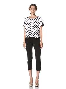 Kenneth Cole Women's Dolman Sleeve Printed Stripe Top (White/Black)