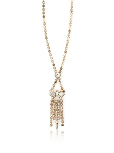 Lulu Frost 1920's Art Deco Delicate Drop Crystal Necklace, Brass