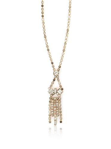 Lulu Frost 1920's Art Deco Delicate Drop Crystal Necklace, Brass