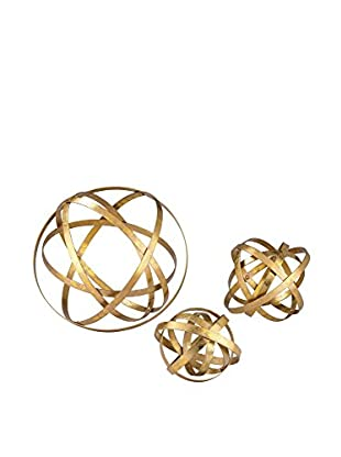 Artistic Set of 3 Open Structure Metal Orbs, Gold