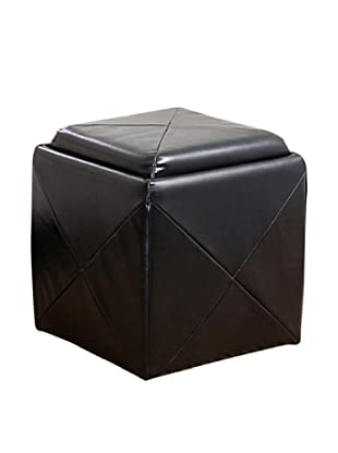 Abbyson Living Ines Bonded Leather Cube Storage Tray Ottoman