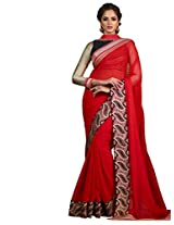 Inddus Women Red Colored Partywear Saree
