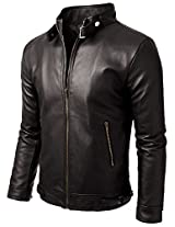 Iftekhar Men's Pure leather Jacket - Black - (Iftekhar09 - L)